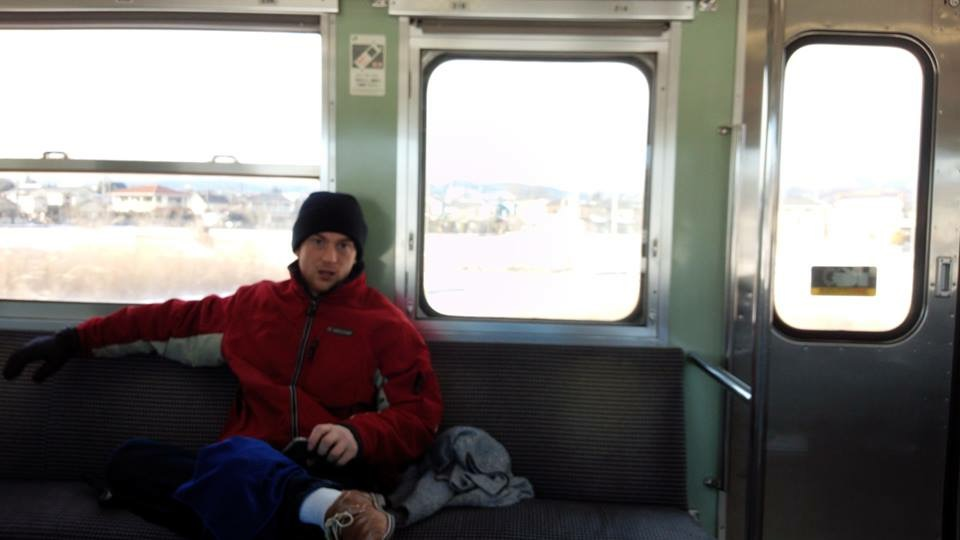 on train to Japanese Onsen