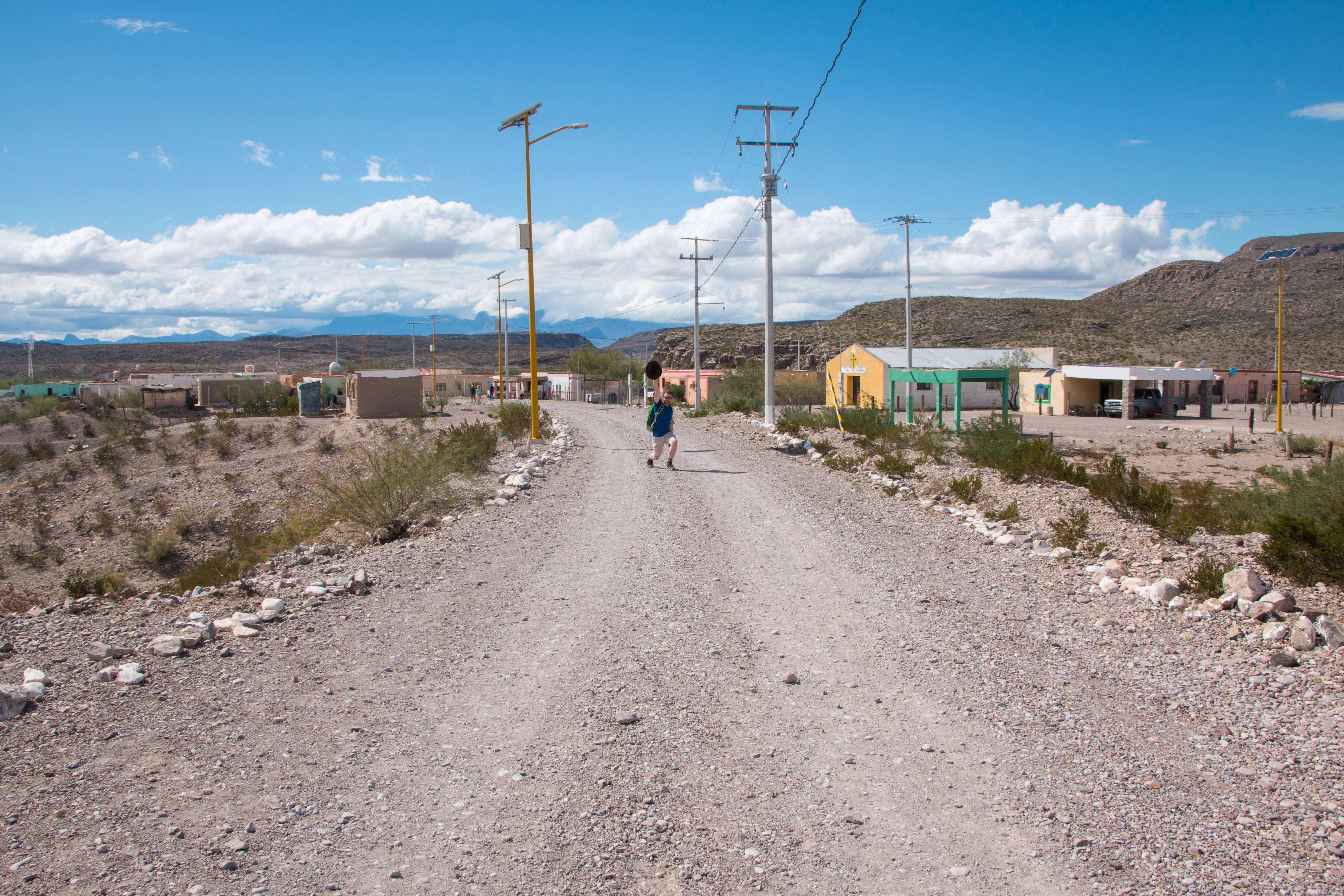 Kevin in boquillas del carmen, Mexico. Seen in the photo is one of the solar panels placed by the government in recent years.