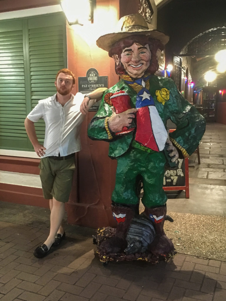 hanging out with leprechaun on san antonio riverwalk